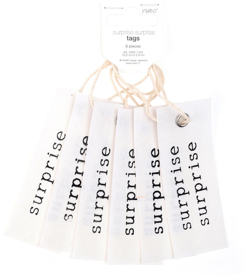 Geschenklabels Surprise, 6 stuks, 65% katoen, 35% linnen, Crèmekleurig, zwart, 4 x 11 cm