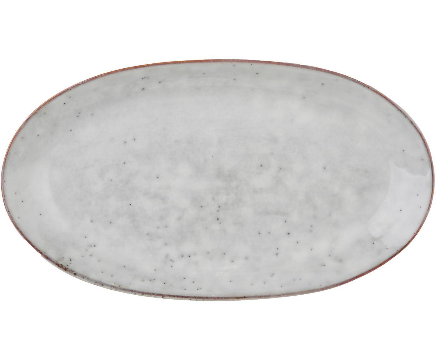 Handgefertigte Servierplatte Nordic Sand aus Steingut, Steingut, Sand, 17 x 30 cm