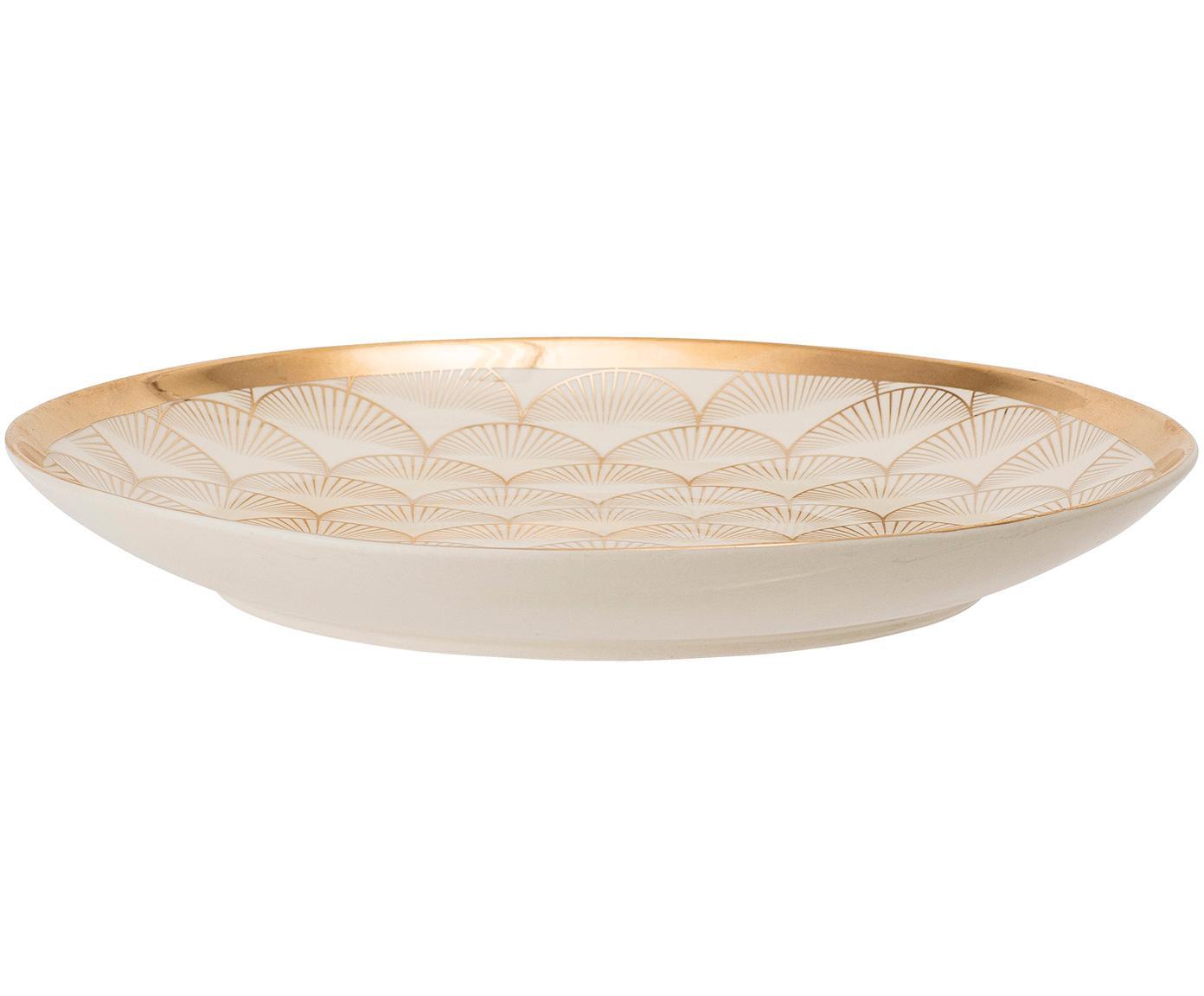 Piatto piano Aruba 2 pz, Terracotta, Beige, dorato, Ø 25 cm