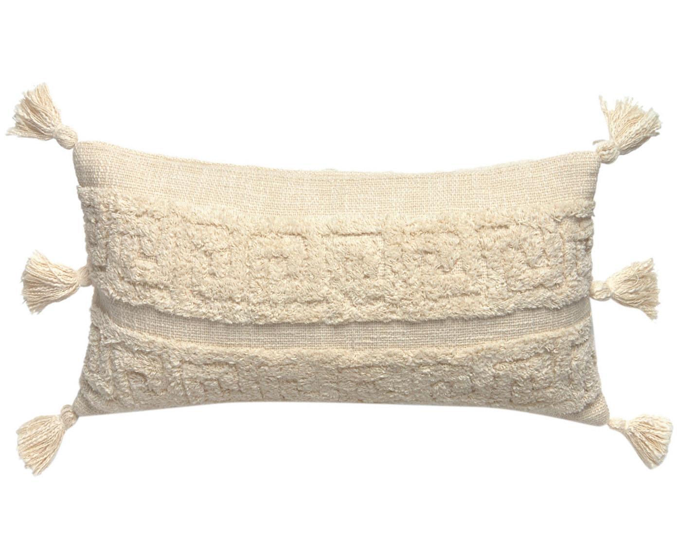 Boho kussenhoes Hera met hoog-laag patroon en kwastjes, 100% katoen, Crèmekleurig, 30 x 60 cm