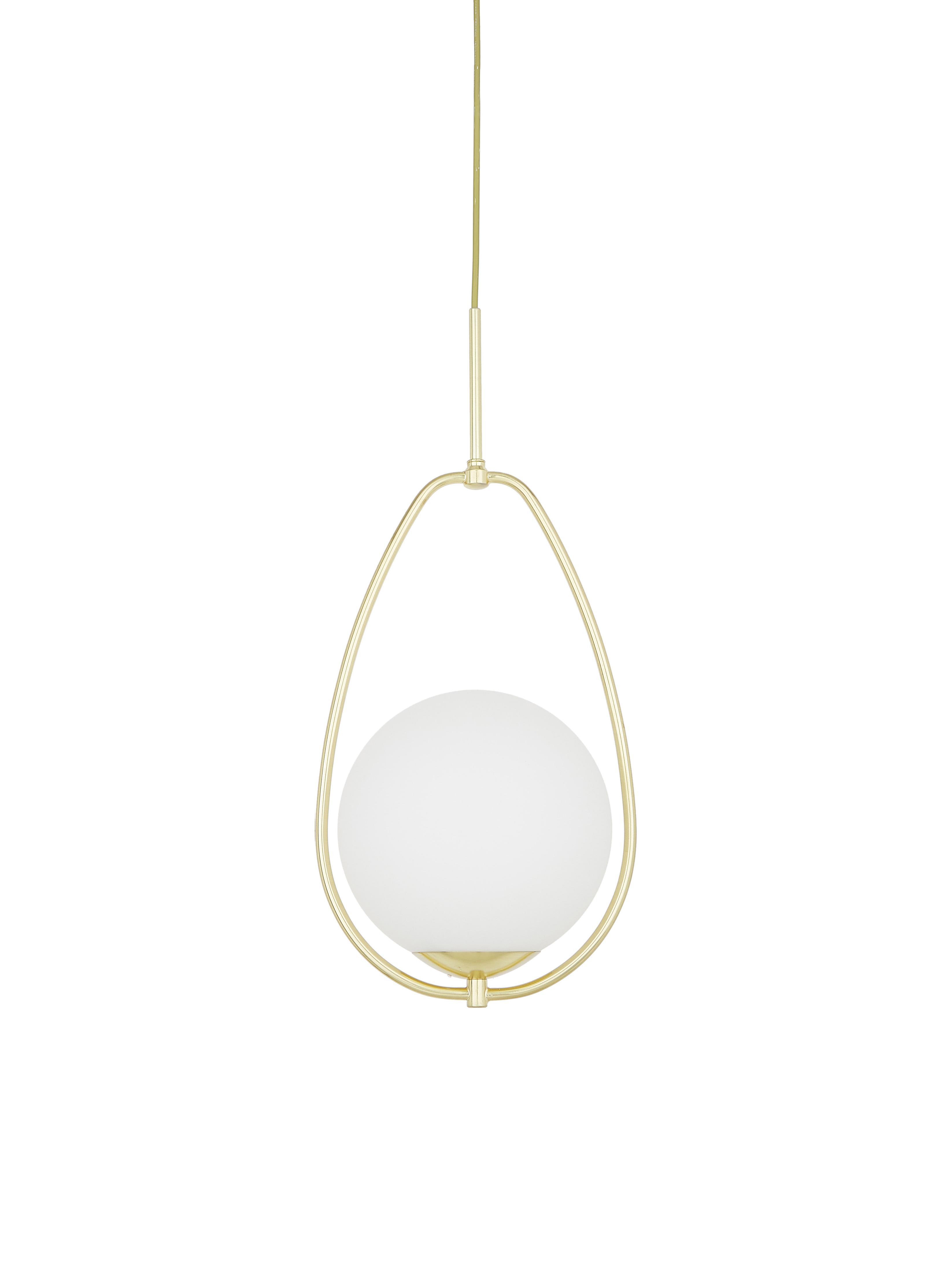 Kleine Pendelleuchte Avalon aus Opalglas, Lampenschirm: Glas, Weiß, Goldfarben, Ø 23 x H 51 cm