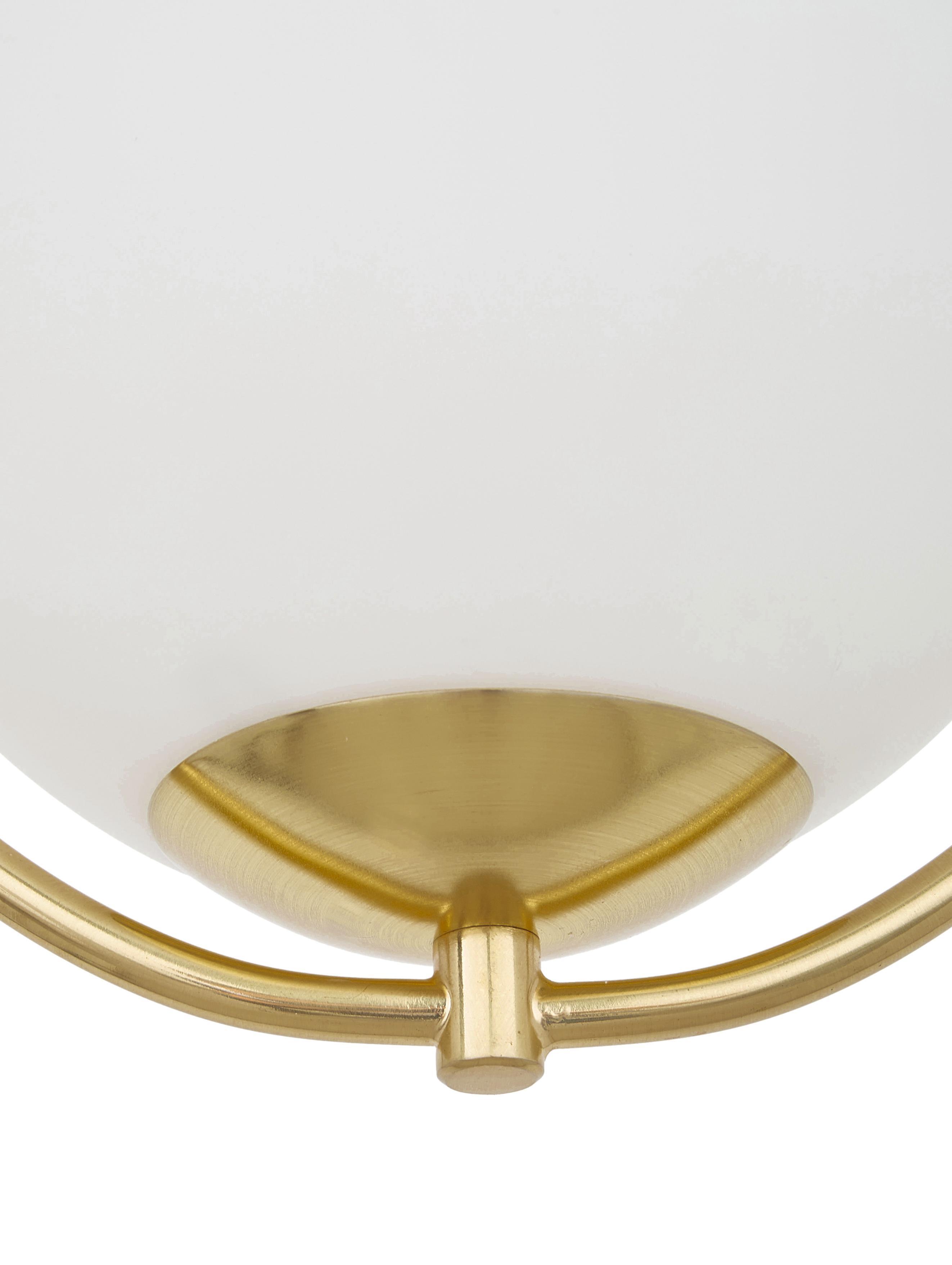 Suspension verre opalescent, petite taille Avalon, Blanc, couleur dorée