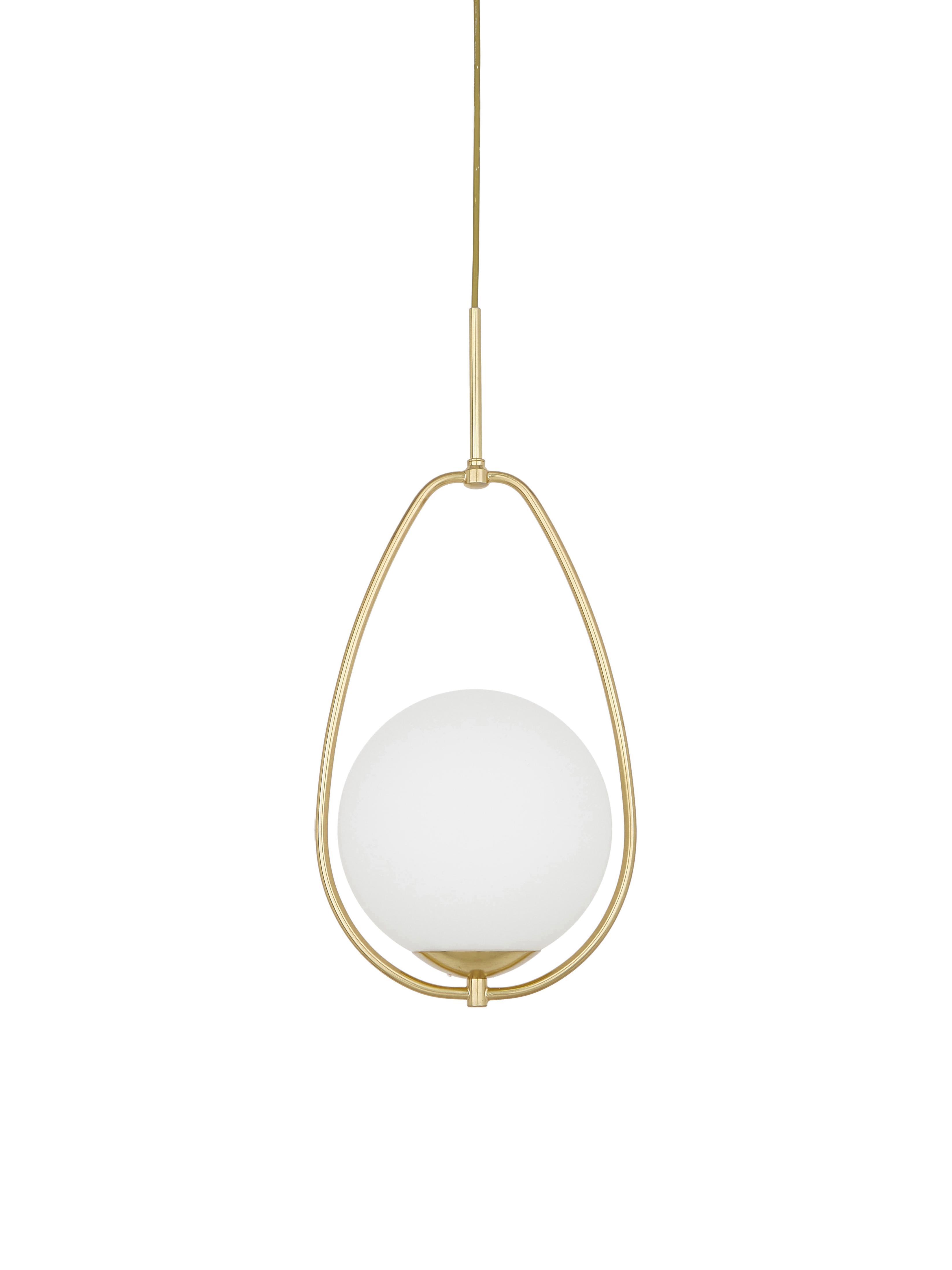 Hanglamp Avalon van opaalglas, Lampenkap: glas, Wit, goudkleurig, Ø 23 x H 51 cm