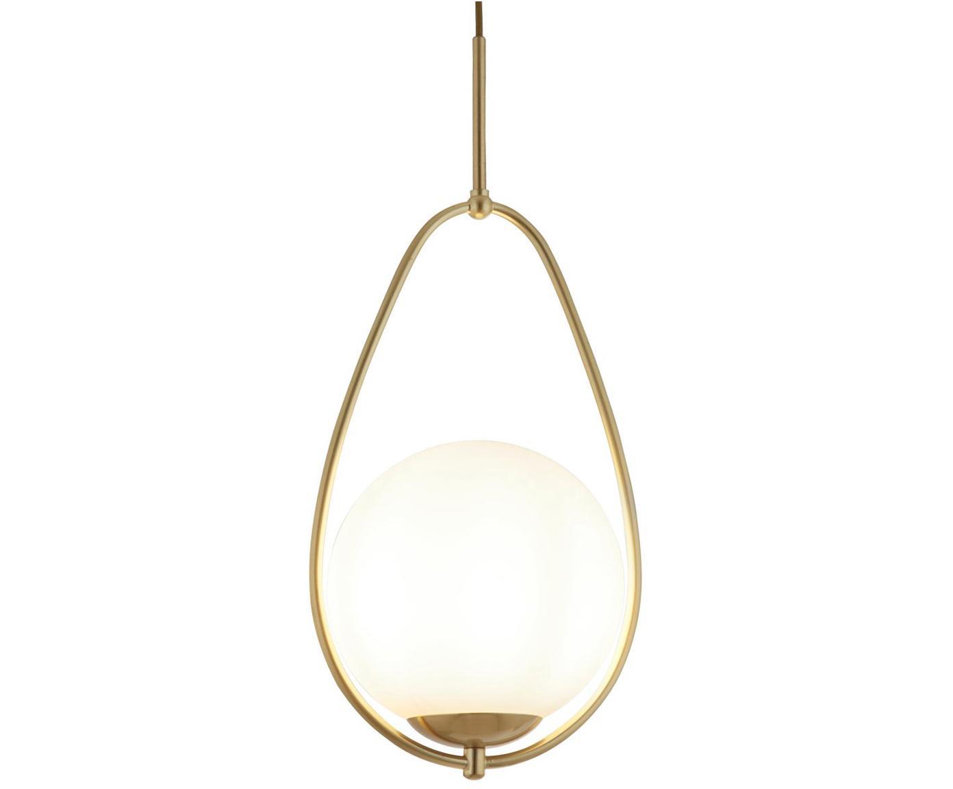 Kleine Pendelleuchte Avalon aus Opalglas, Lampenschirm: Glas, Weiss, Goldfarben, Ø 23 x H 51 cm