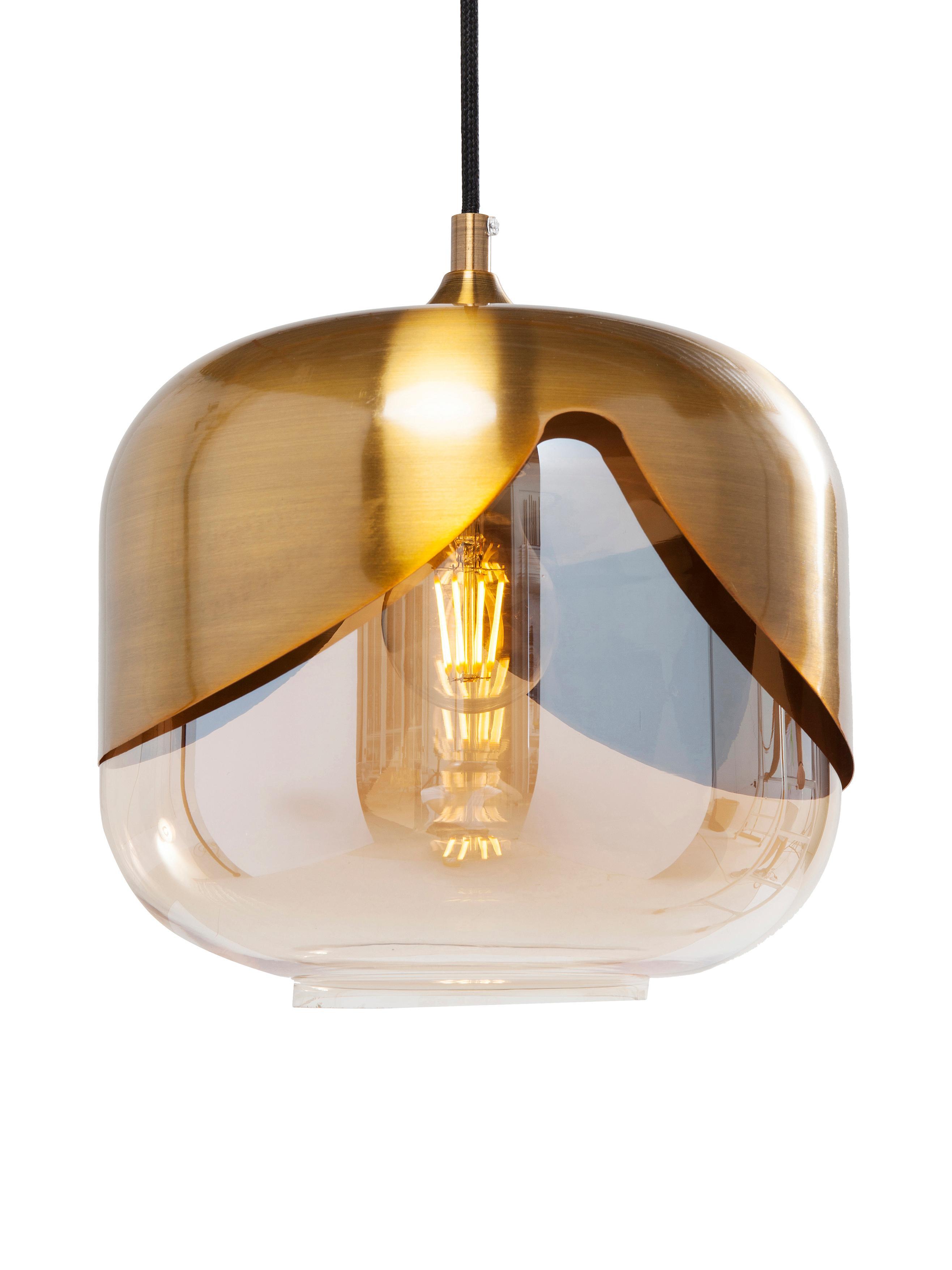 Hanglamp Golden Goblet van glas, Lampenkap: geverfd glas, Fitting: vermessingd metaal, Messingkleurig, Ø 25 x H 25 cm