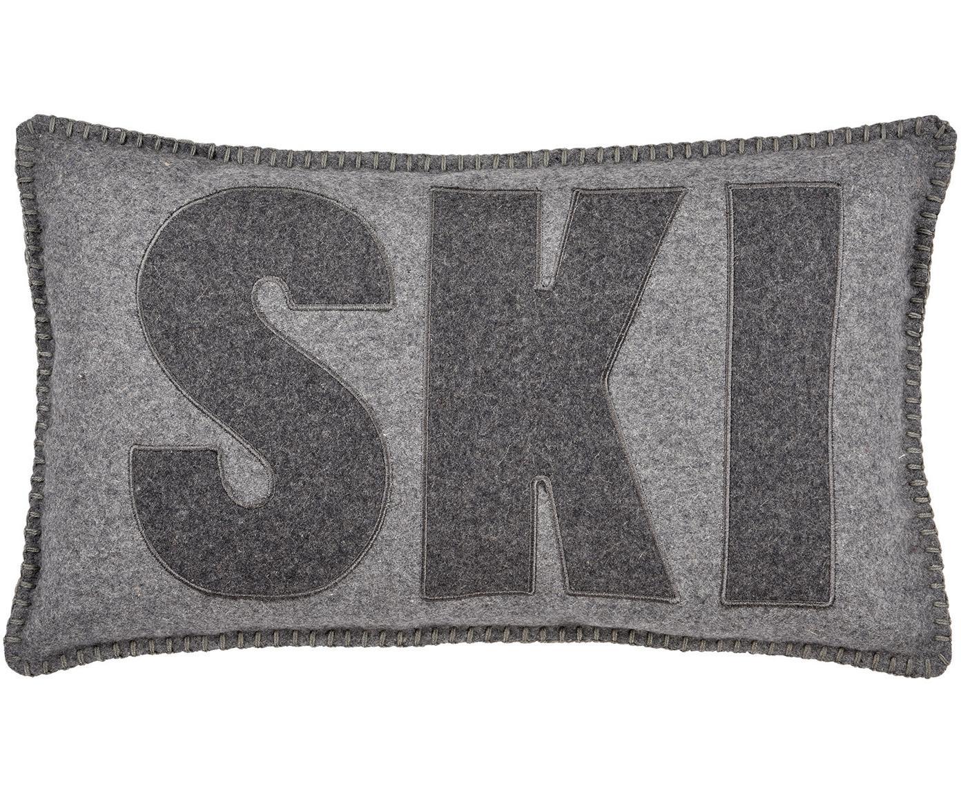 Wolvilten kussenhoes Ski, 60% wol, 40% polyester., Grijs, antraciet, 30 x 50 cm