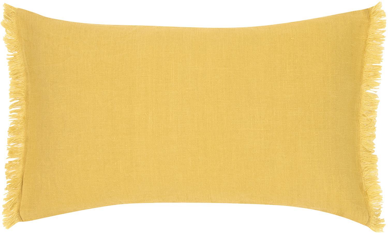 Funda de cojín de lino con flecos Luana, Lino, Amarillo, An 30 x L 50 cm