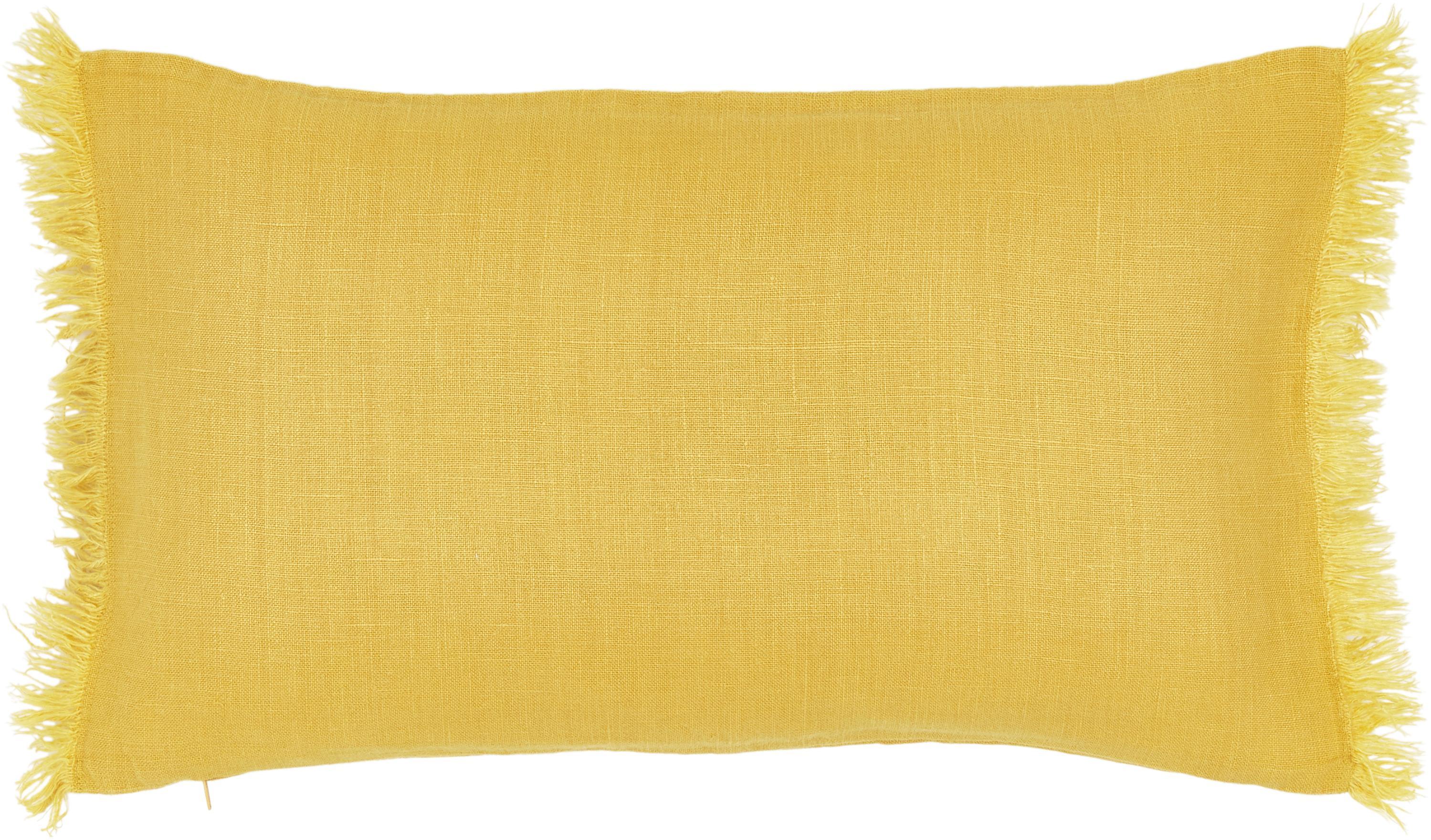 Linnen kussenhoes Luana in geel met franjes, 100% linnen, Geel, 30 x 50 cm