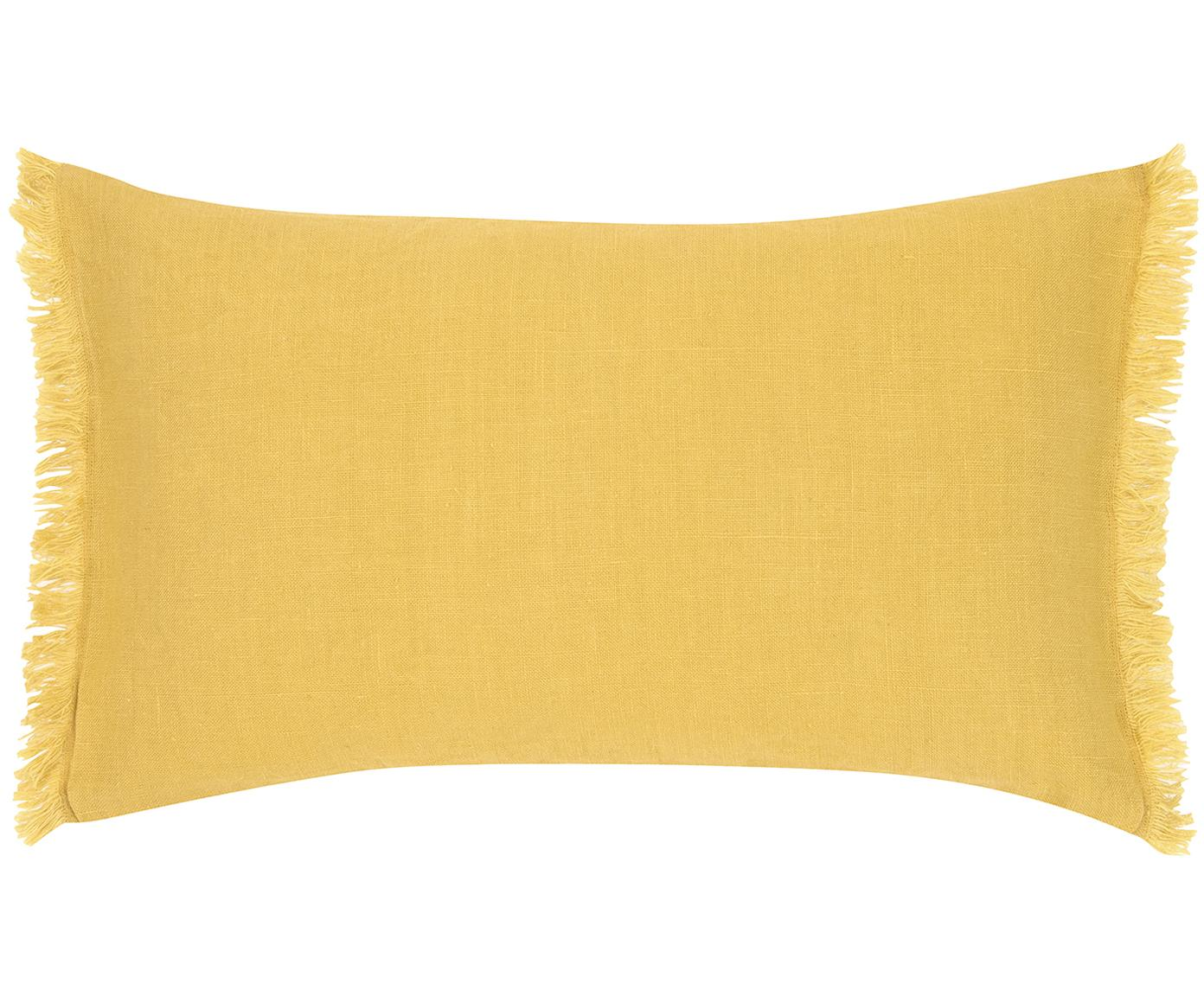 Leinen-Kissenhülle Luana mit Fransen, 100% Leinen, Gelb, 30 x 50 cm