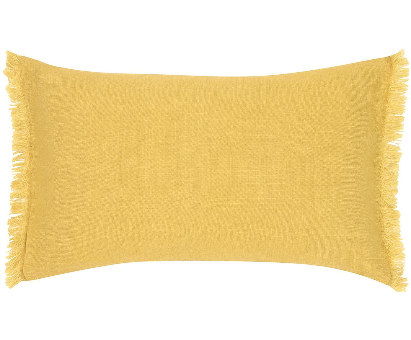 Linnen kussenhoes Luana met franjes, Linnen, Geel, 30 x 50 cm