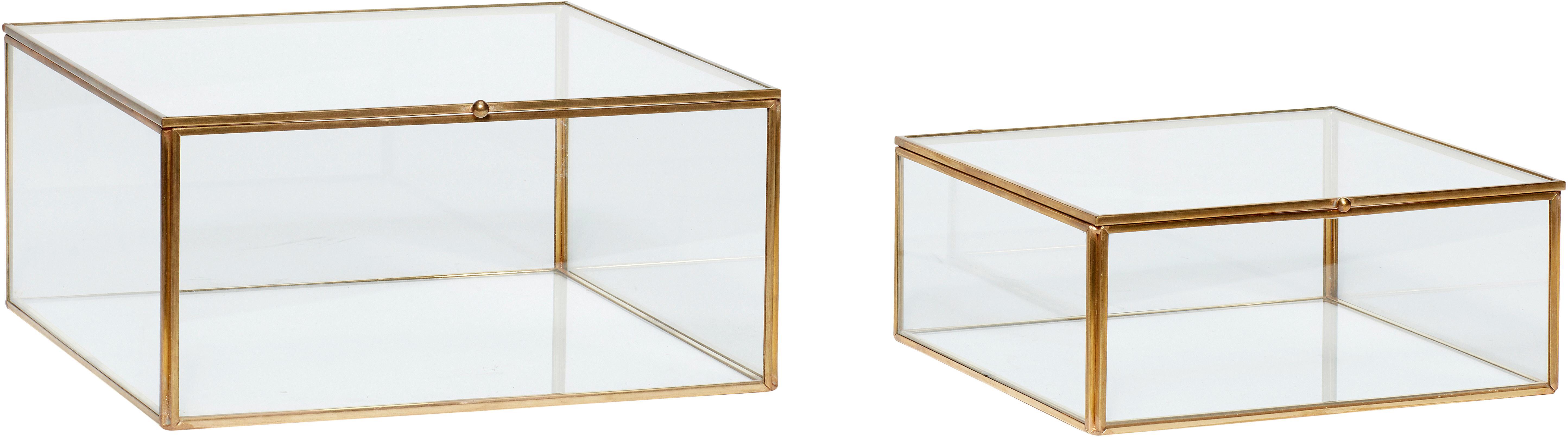 Aufbewahrungsboxen-Set Karie, 2-tlg., Rahmen: Messing, Box: Glas, Messing, Transparent, Set mit verschiedenen Grössen