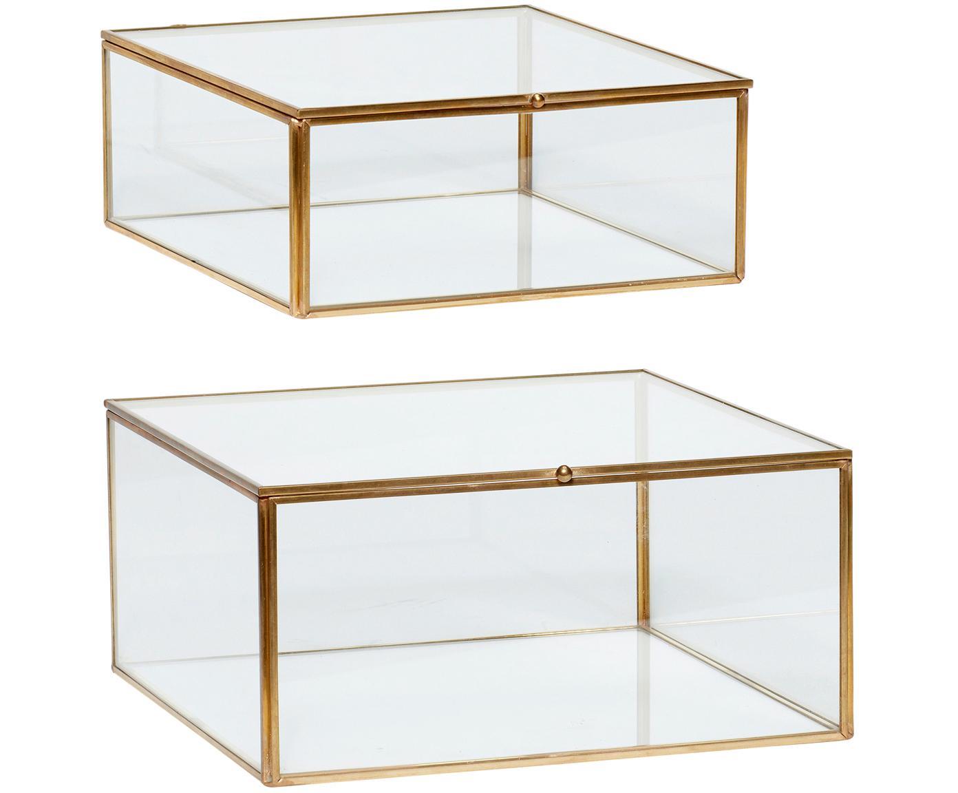 Komplet pudełek do przechowywania Karie, 2 elem., Mosiądz, transparentny, Różne rozmiary