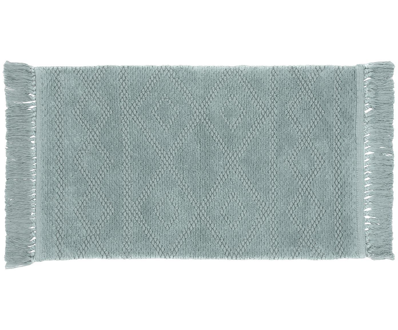 Tappeto bagno boho in cotone Bernadette, Frange: viscosa, Salvia, Larg. 50 x Lung. 80 cm