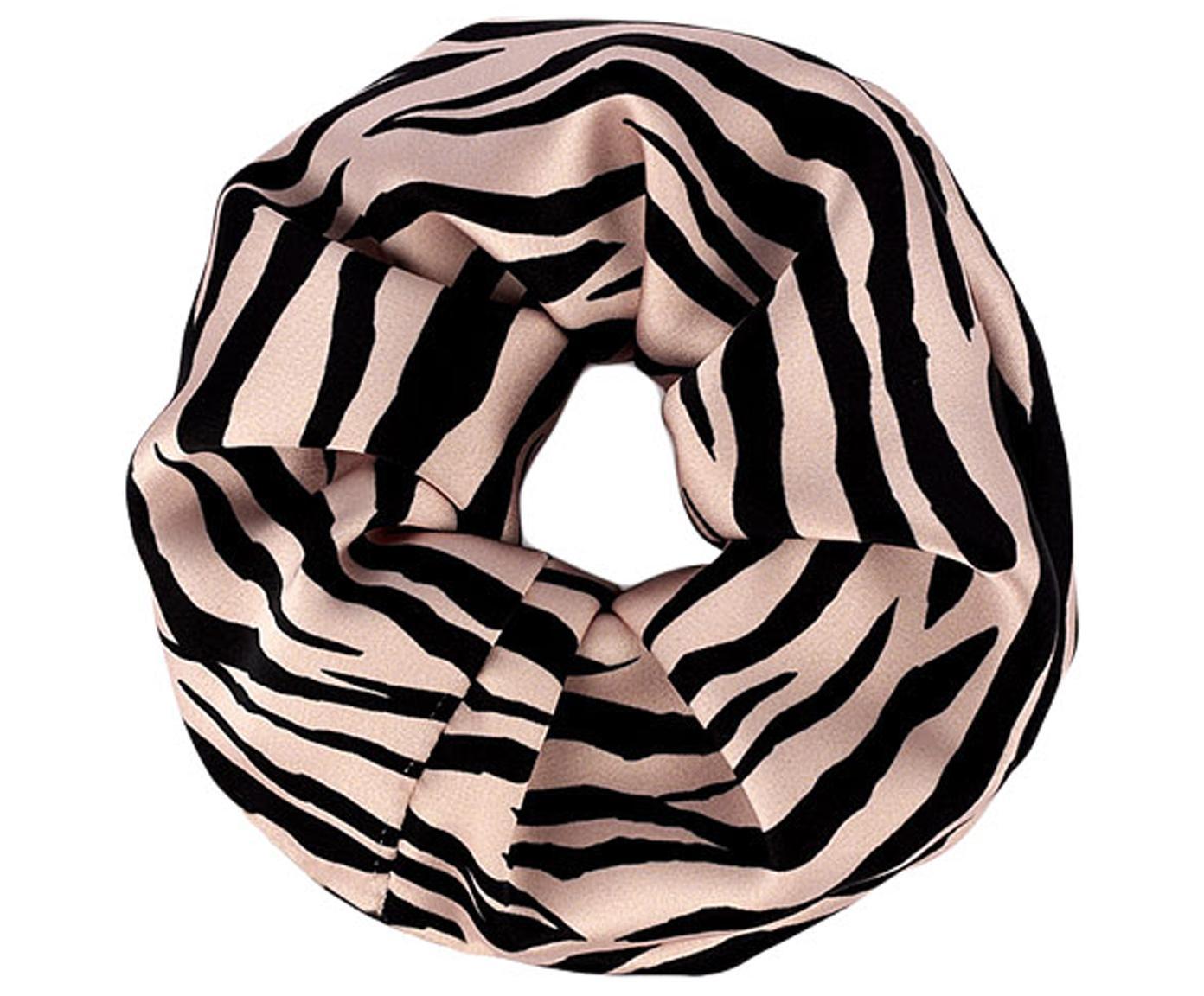 Scrunchie Soft Tiger, Webart: Satin, Rosa, Schwarz, Ø 14 cm