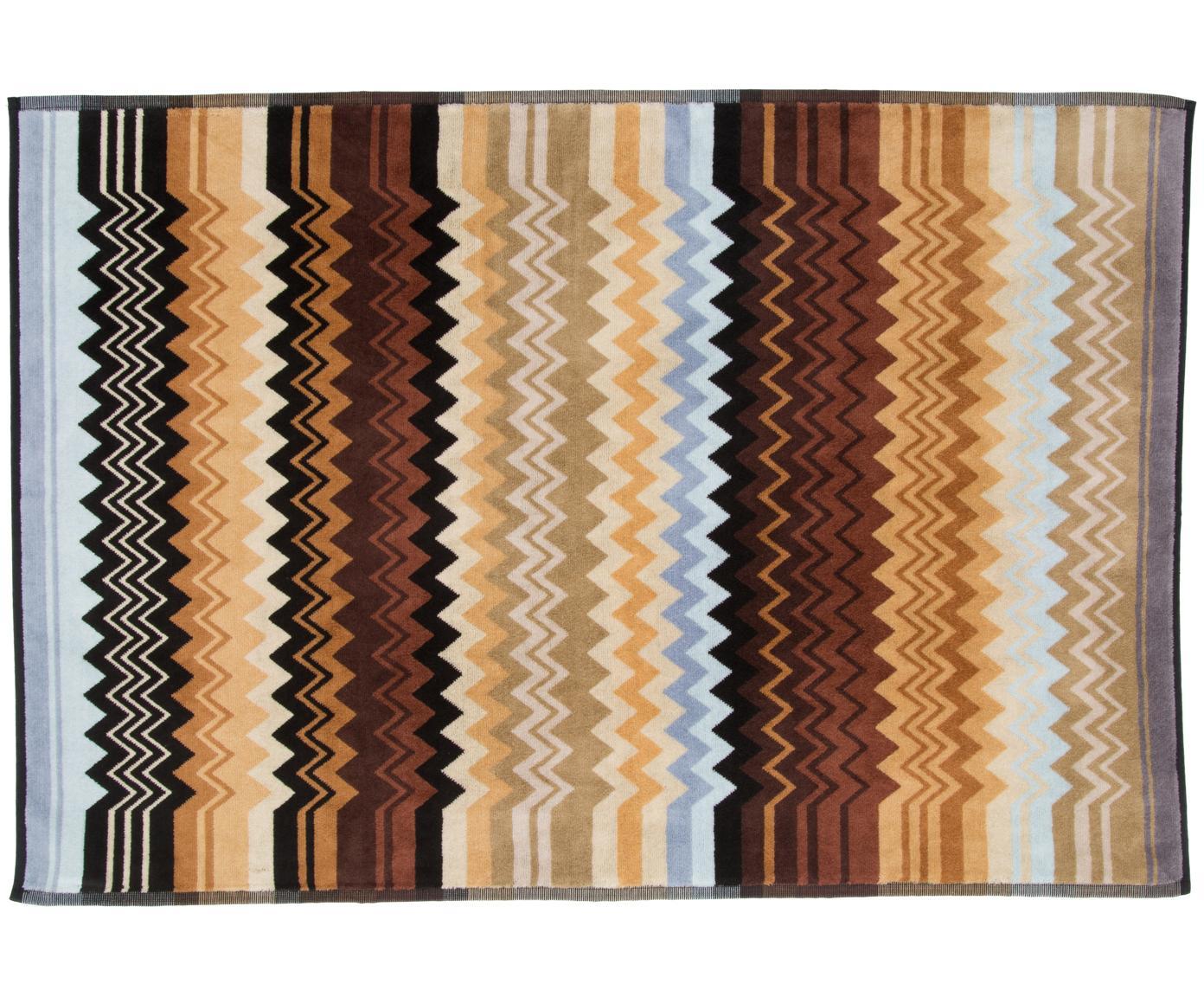 Dünner Badvorleger Giacomo in Brauntönen, 100% Baumwolle, Brauntöne, Blautöne, Beigetöne, 60 x 90 cm