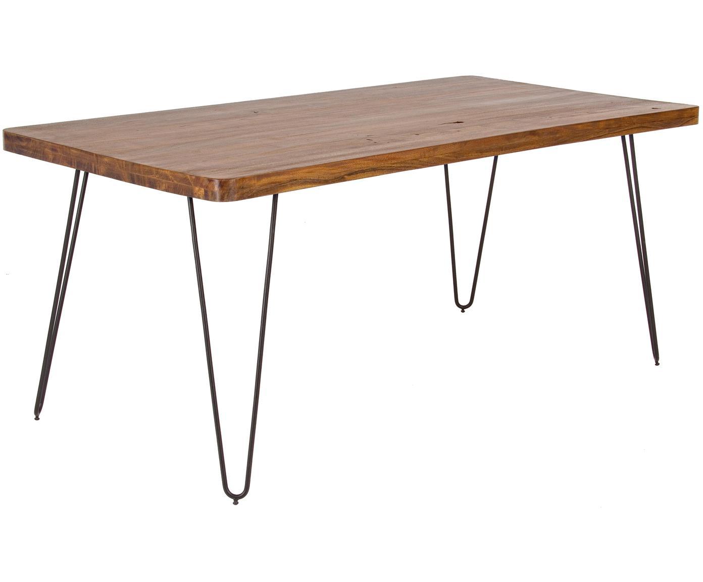 Eettafel Edgar met massief houten blad, Tafelblad: acaciahout, Poten: metaal, Acaciahoutkleurig, zwart, B 175 x D 90 cm