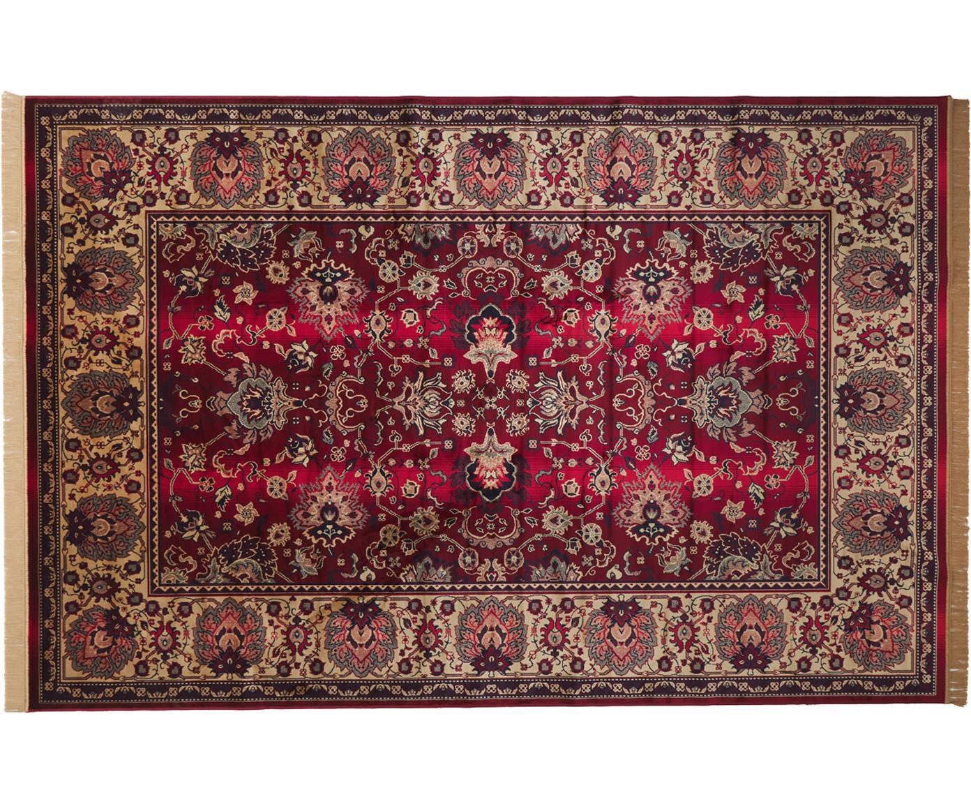 Tappeto a pelo corto con frange Bid, Retro: rivestimento in gomma sin, Tappeto: tonalità beige e rosse Frange: beige, Larg. 200 x Lung. 300 cm (taglia L)