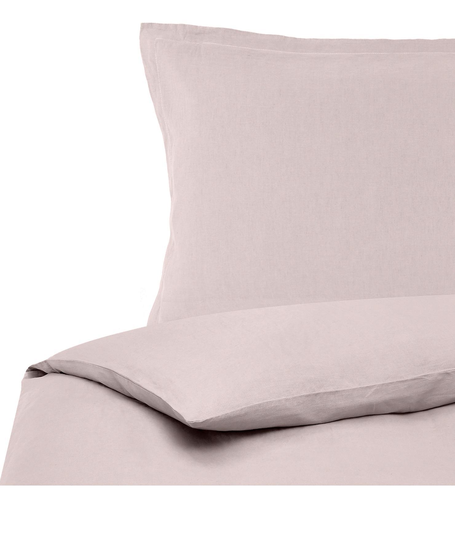 Gewaschene Leinen-Bettwäsche Nature in Altrosa, Halbleinen (52% Leinen, 48% Baumwolle)  Fadendichte 108 TC, Standard Qualität  Halbleinen hat von Natur aus einen kernigen Griff und einen natürlichen Knitterlook, der durch den Stonewash-Effekt verstärkt wird. Es absorbiert bis zu 35% Luftfeuchtigkeit, trocknet sehr schnell und wirkt in Sommernächten angenehm kühlend. Die hohe Reißfestigkeit macht Halbleinen scheuerfest und strapazierfähig., Altrosa, 155 x 220 cm + 1 Kissen 80 x 80 cm