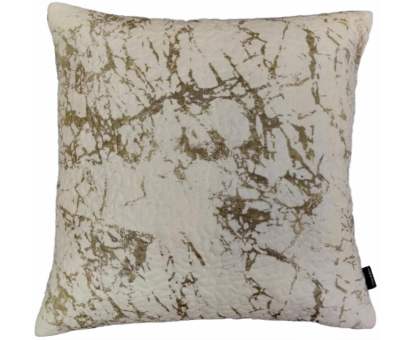 Cuscino con dettagli dorati e imbottitura Quilted, Rivestimento: 100% cotone, Bianco latteo, dorato, Larg. 45 x Lung. 45 cm
