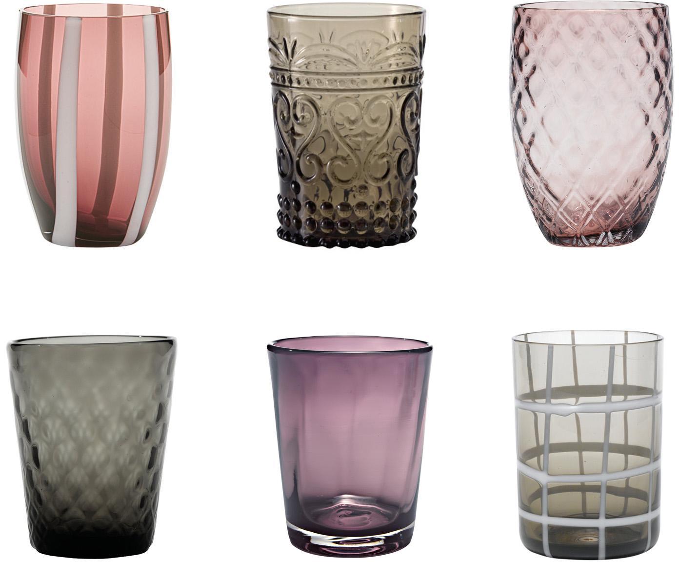 Set 6 bicchieri acqua in diverse fantasie Melting, Vetro, Tonalità grigie e viola, Set in varie misure