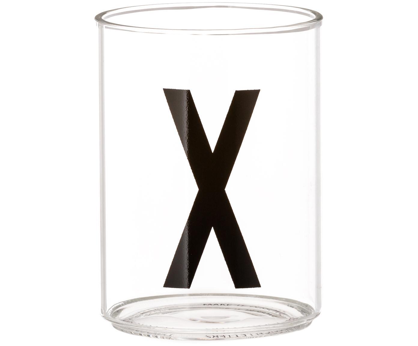 Bicchiere acqua Personal (varianti dalla A alla  Z), Vetro borosilicato, Trasparente, nero, Bicchiere per l'acqua X