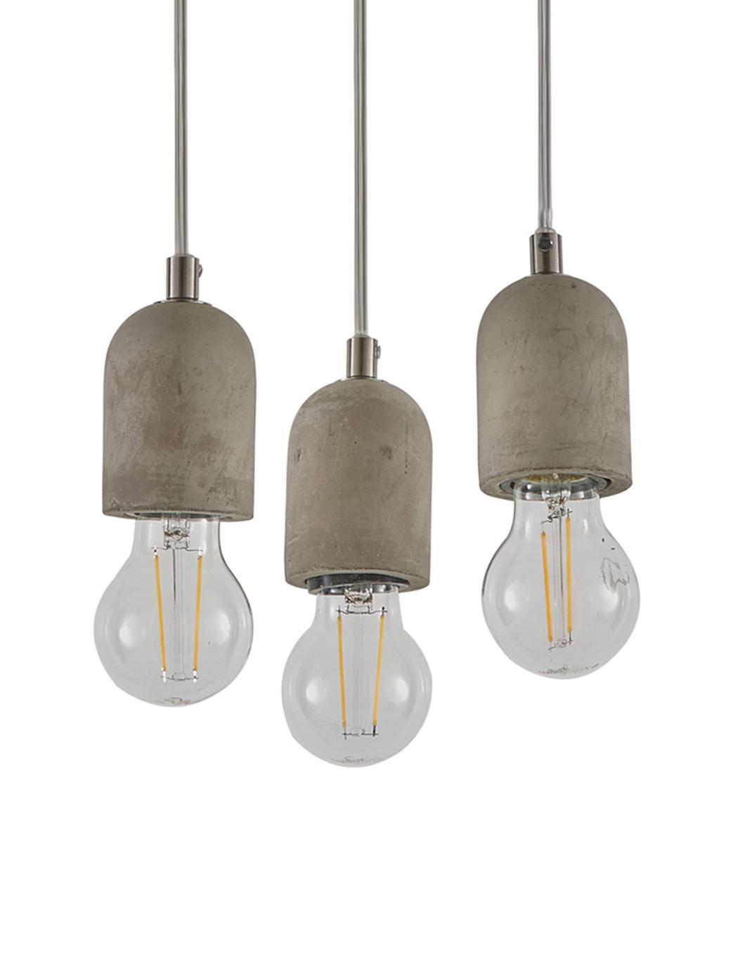 Hanglamp Hedda, Baldakijn: betonkleurig, Grijs, Ø 20 x H 140 cm