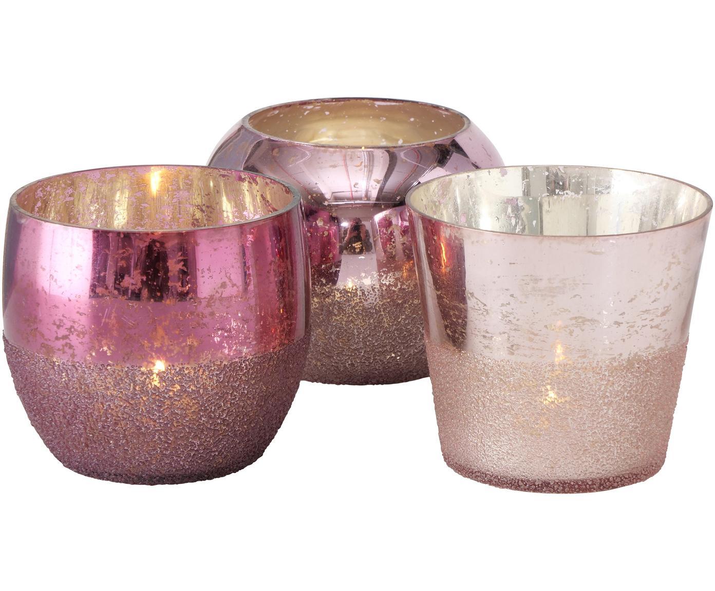 Handgefertigtes Teelichthalter-Set Rosetta, 3-tlg., Glas, Pinktöne, Ø 12 x H 9 cm