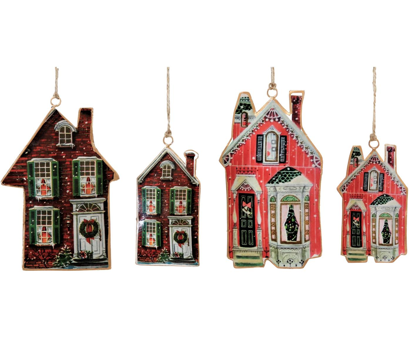 Baumanhänger-Set Houses, 4-tlg., Metall, Braun, Rot, Verschiedene Grössen