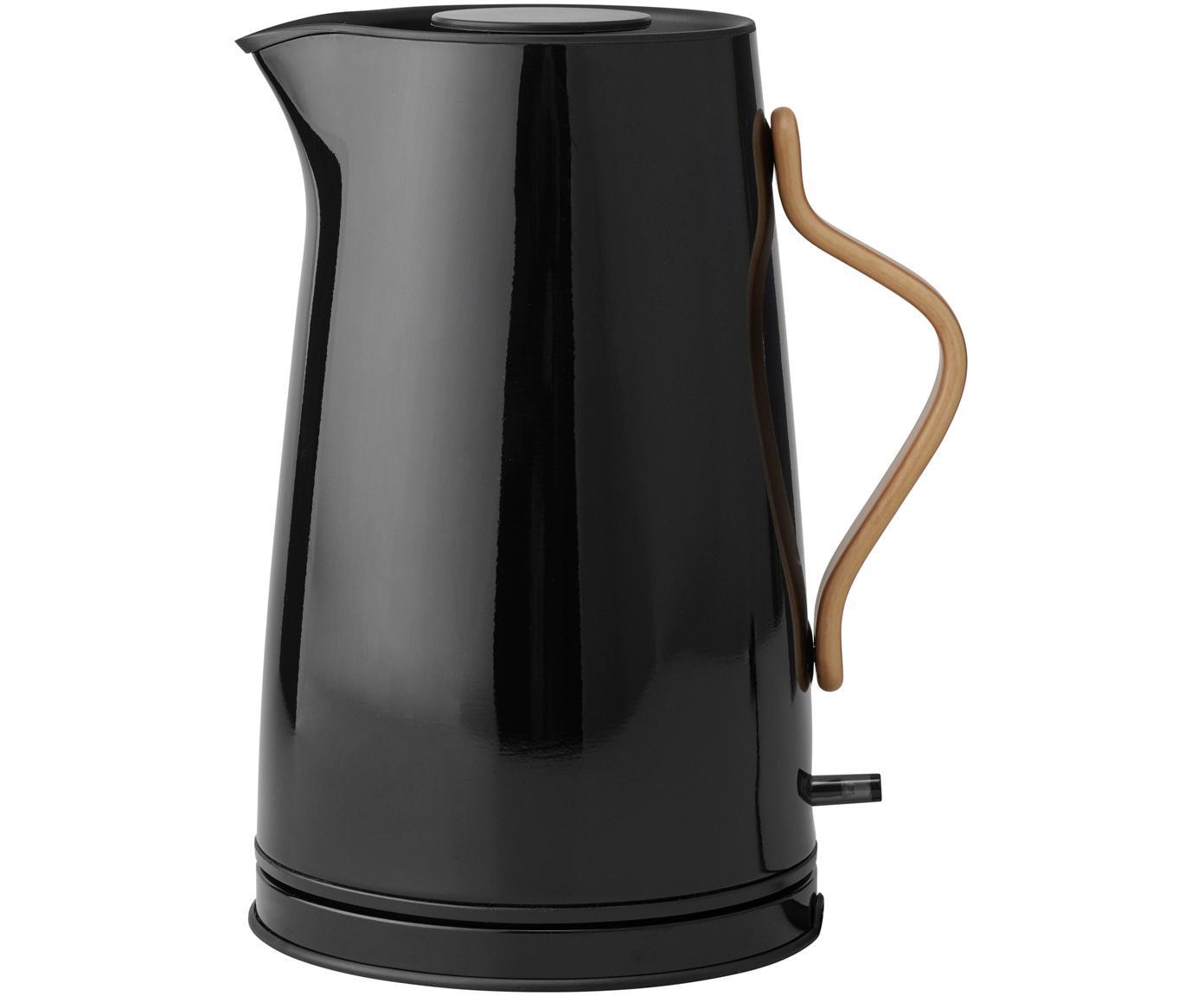 Wasserkocher Emma in Schwarz glänzend, Griff: Buchenholz, Schwarz, 1.2 L