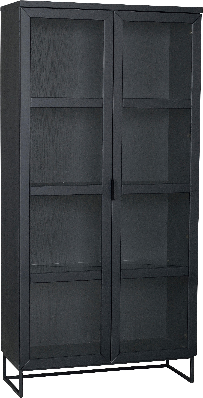Vitrinenschrank Everett mit Glastüren in Schwarz, Korpus: Eichenholz, massiv, lacki, Gestell: Metall, lackiert, Schwarz, 95 x 195 cm
