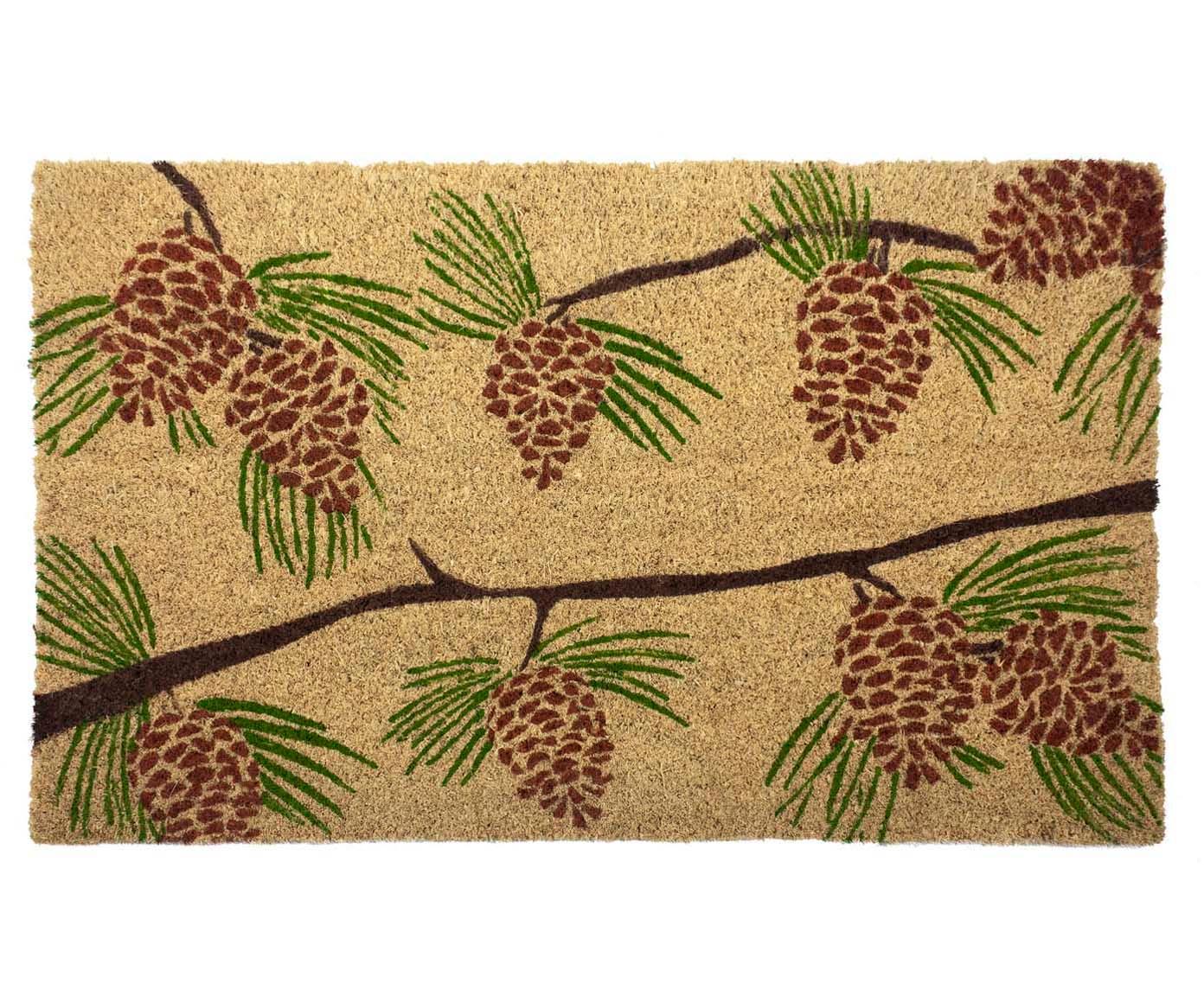 Fussmatte Pine Cones, Oberseite: Kokosfasern, Unterseite: PVC, Beige, Grün, Rot, Braun, 43 x 70 cm
