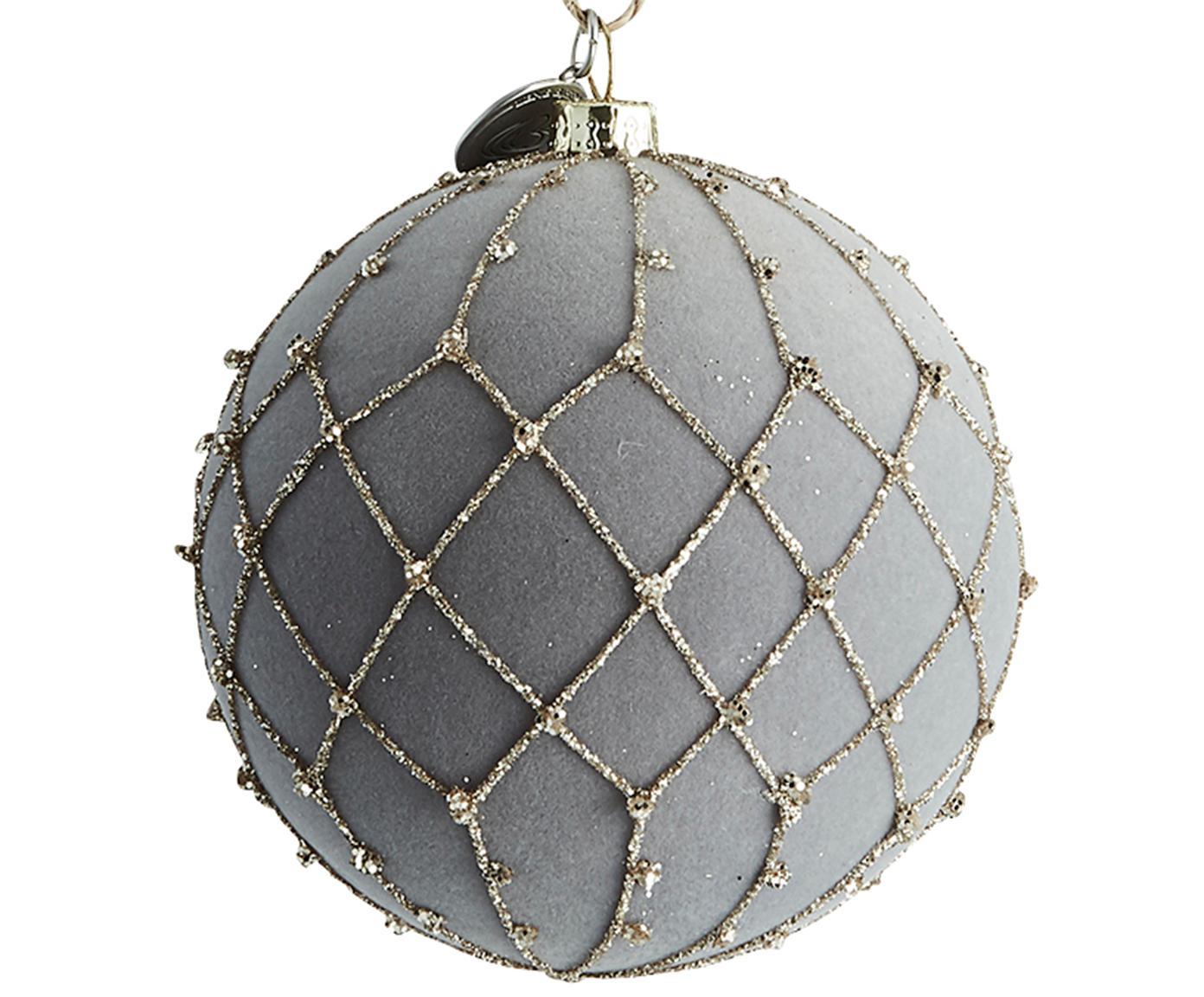 Weihnachtskugel Jalia, Kunststoff, Polyestersamt, Grau, Goldfarben, Ø 8 cm