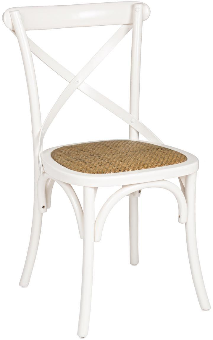 Silla Cross, Estructura: madera de abedul, Asiento: ratán natural, acabado de, Beige, crema, An 52 x Al 90 cm