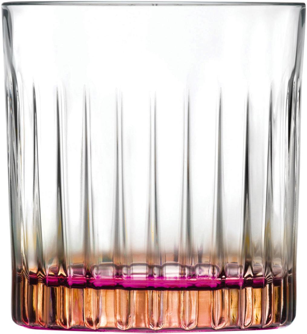 Bicchieri in cristallo Gipsy 6 pz, Cristallo Luxion, Trasparente, color rame, rosa, Ø 8 x Alt. 9 cm