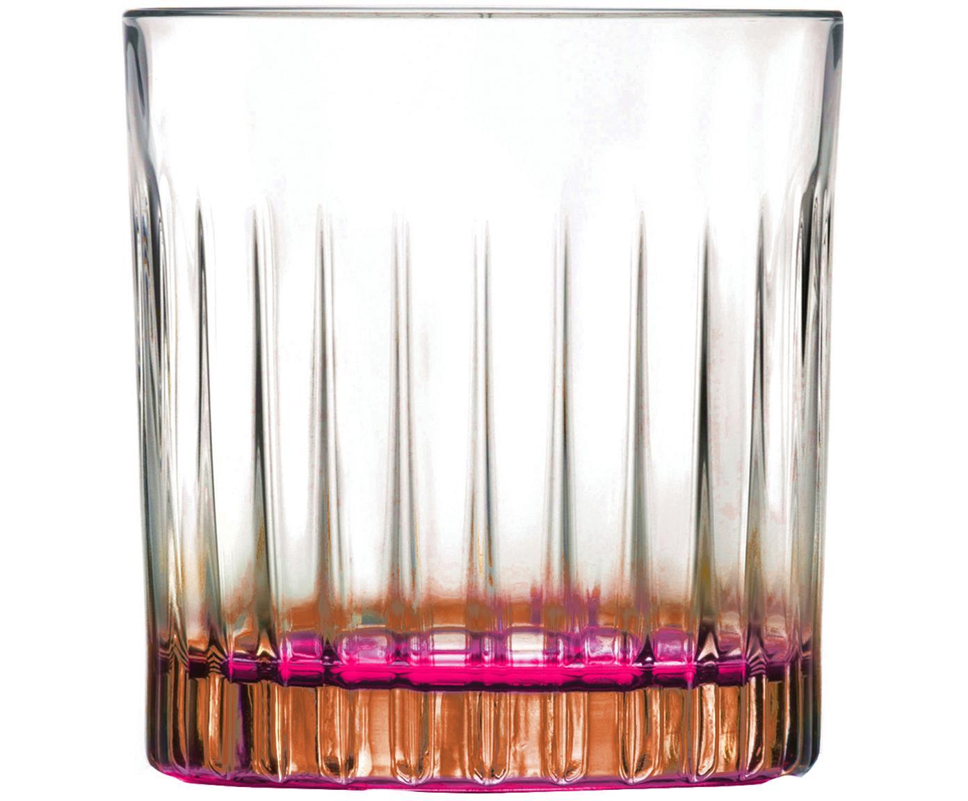 Vasos old fashioned de cristal Gipsy, 6uds., Cristal Luxion, Transparente, bronceado, rosa, Ø 8 x Al 9 cm