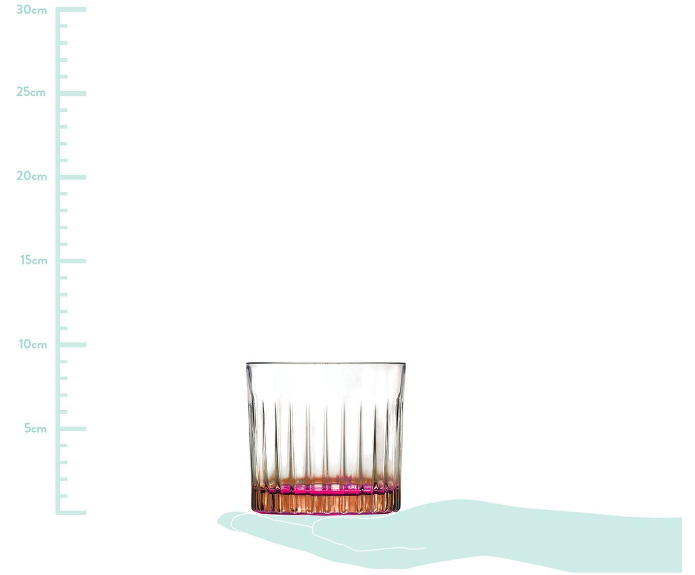 Kristallen tumblers Gipsy, 6 stuks, Luxion-kristalglas, Transparant, koperkleurig, roze, Ø 8 x H 9 cm