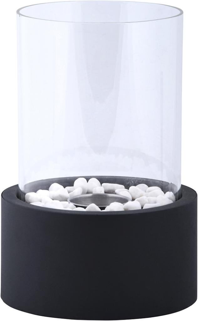 Quemador de bioetanol Damin, Negro, transparente, Ø 19 x Al 27 cm