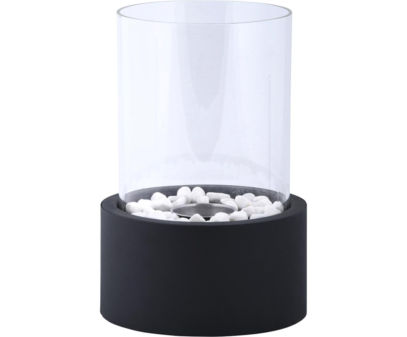 Bioethanolbrander Damin, Metaal, glas, Zwart, transparant, Ø 19 x H 27 cm