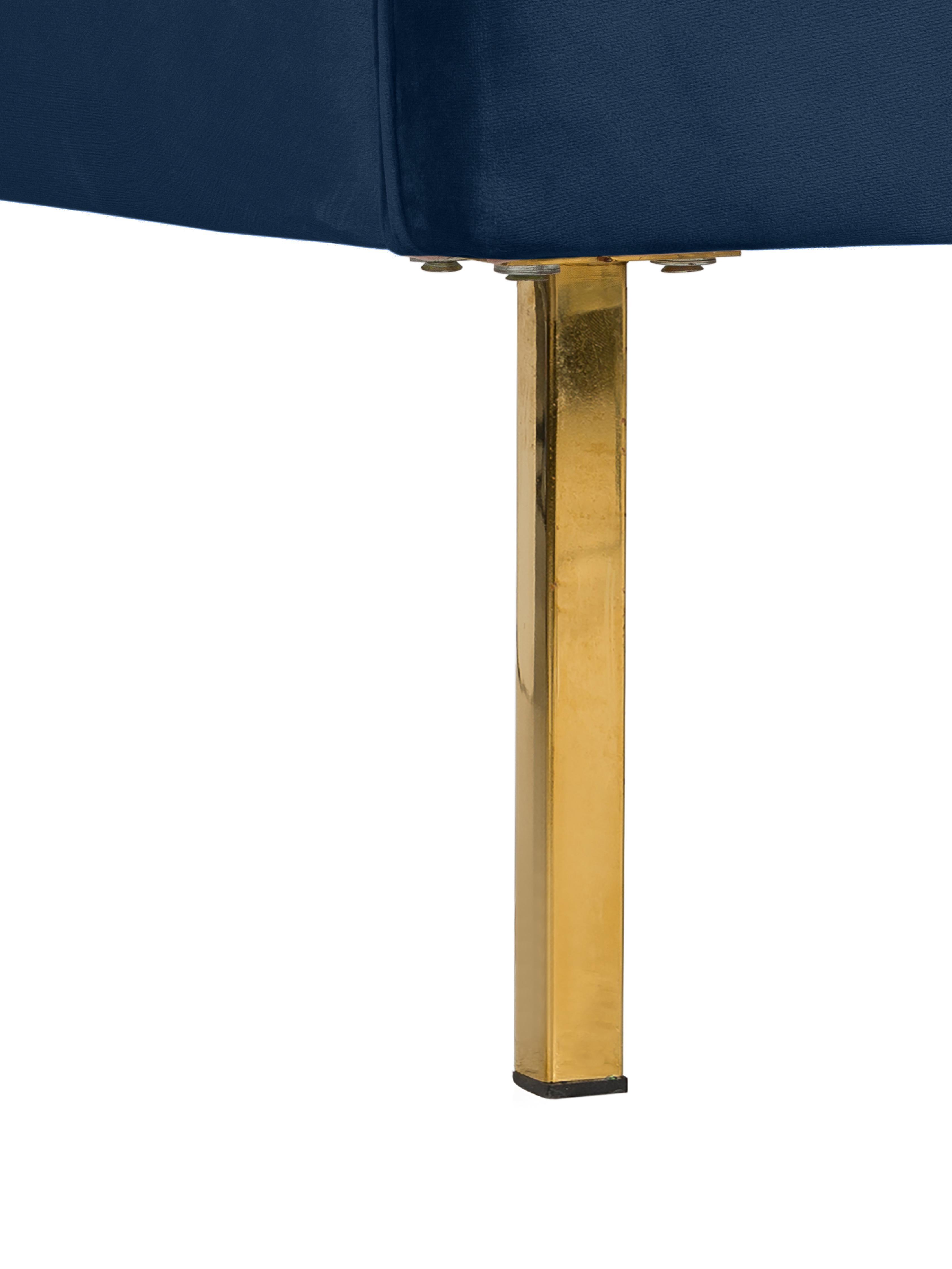 Divano Chesterfield in velluto Chiara (2 posti), Rivestimento: velluto (poliestere) 20.0, Struttura: legno di betulla massicci, Piedini: metallo, zincato, Blu, Larg. 170 x Prof. 72 cm