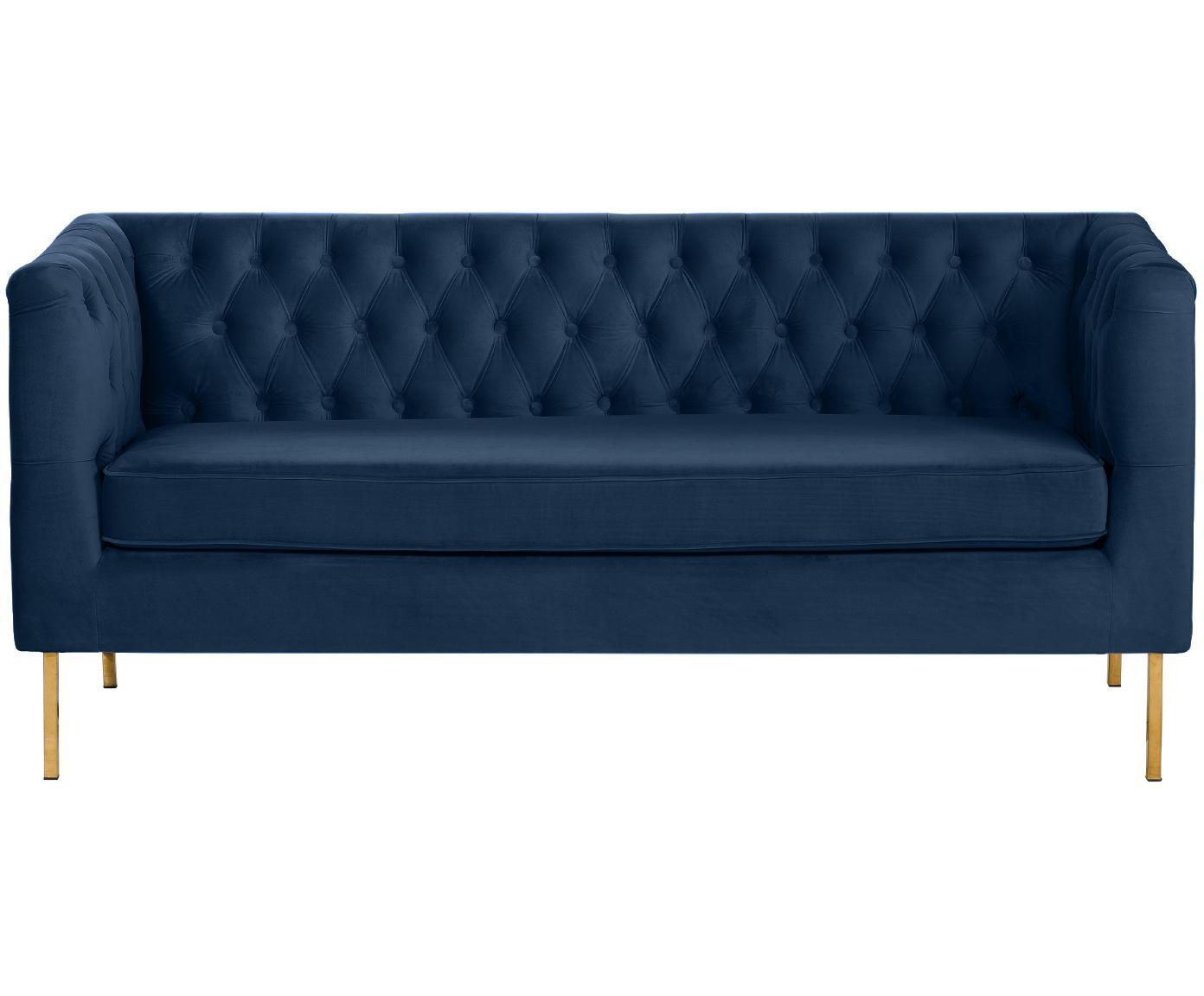 Chesterfield-Samt-Sofa Chiara (2-Sitzer), Bezug: Samt (Polyester) 20.000 S, Gestell: Massives Birkenholz, Füße: Metall, galvanisiert, Samt Blau, B 170 x T 72 cm