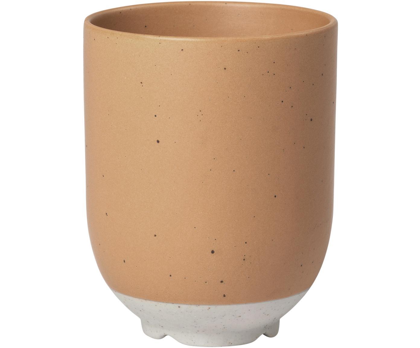Tazza senza manico in terracotta opaca Eli 4 pz, Gres, Marrone chiaro, beige, Ø 7 x Alt. 9 cm