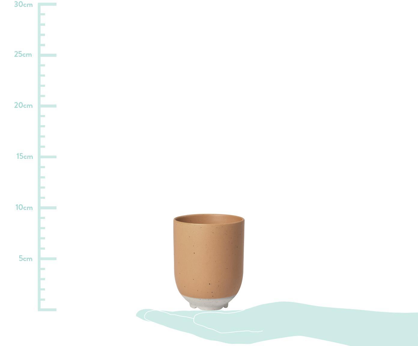 Steingut-Becher Eli mit mattem Finish, 4 Stück, Steingut, Hellbraun, Beige, Ø 7 x H 9 cm