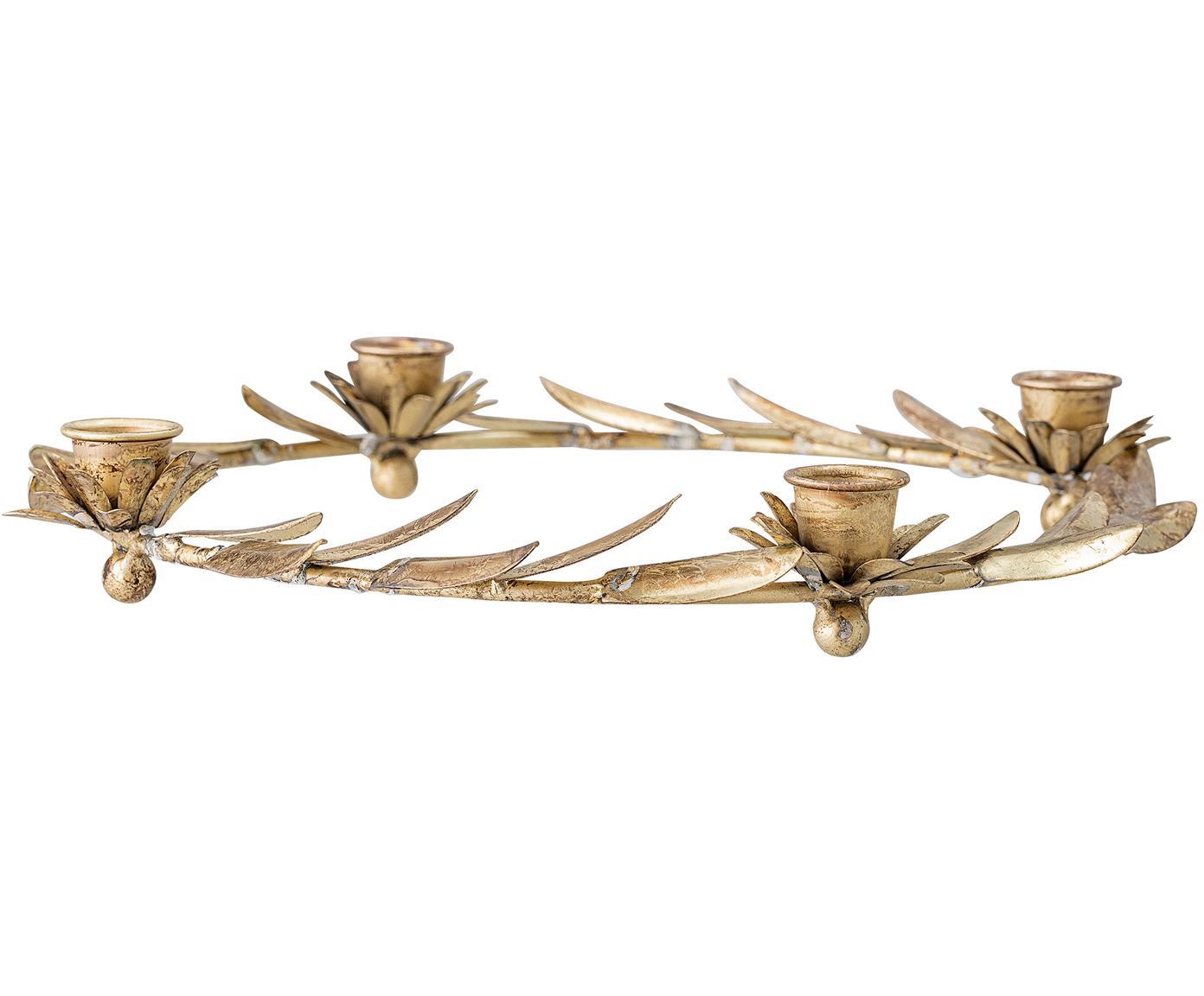 Candelabro Pippa, Metallo rivestito, Ottonato, Ø 30 x Alt. 5 cm