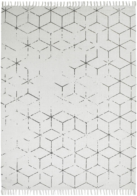 Tappeto in cotone tessuto a mano Stockholm, Bianco latte, grigio, Larg. 160 x Lung. 230 cm