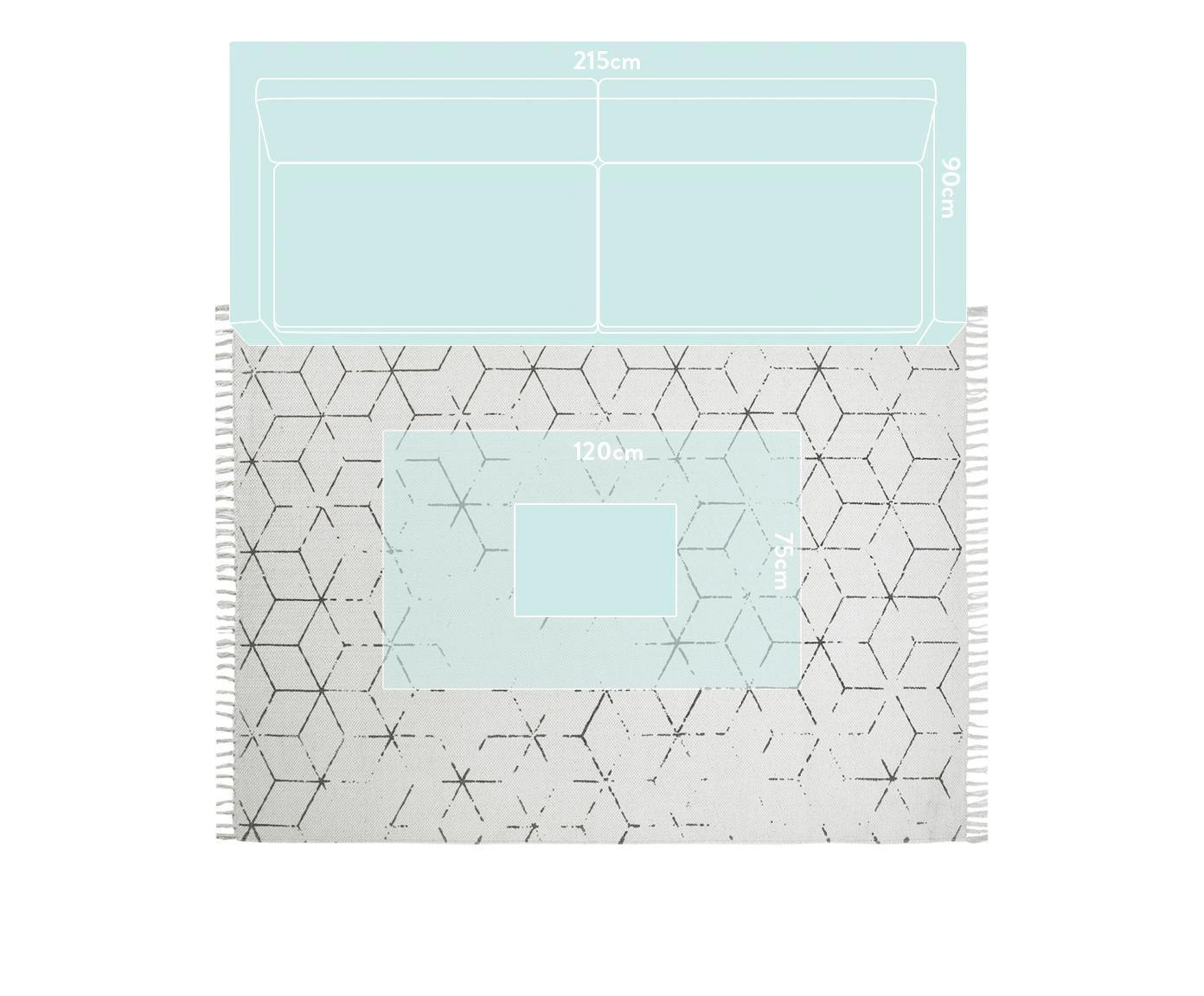 Handgewebter Baumwollteppich Stockholm mit Muster, Gebrochenes Weiß, Grau, B 160 x L 230 cm (Größe M)
