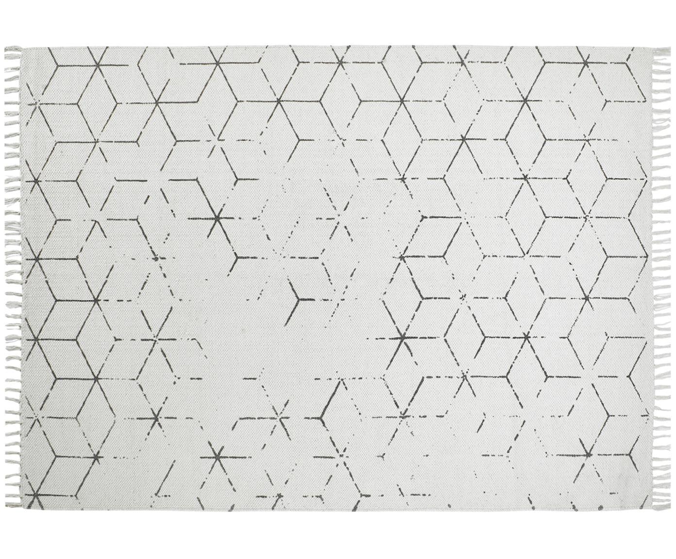 Alfombra artesanal Stockholm, Blanco crudo, gris, An 160 x L 230 cm (Tamaño M)