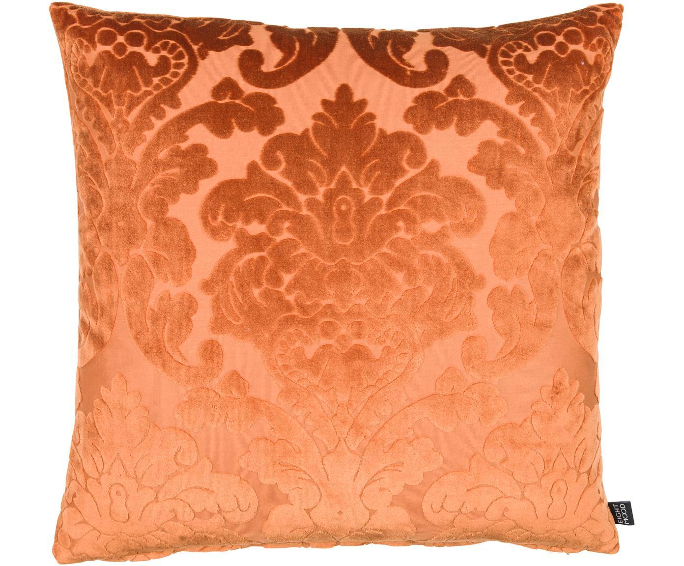 Cuscino con imbottitura in velluto Chateau, Rivestimento: velluto di poliestere, Arancione, Larg. 50 x Lung. 50 cm
