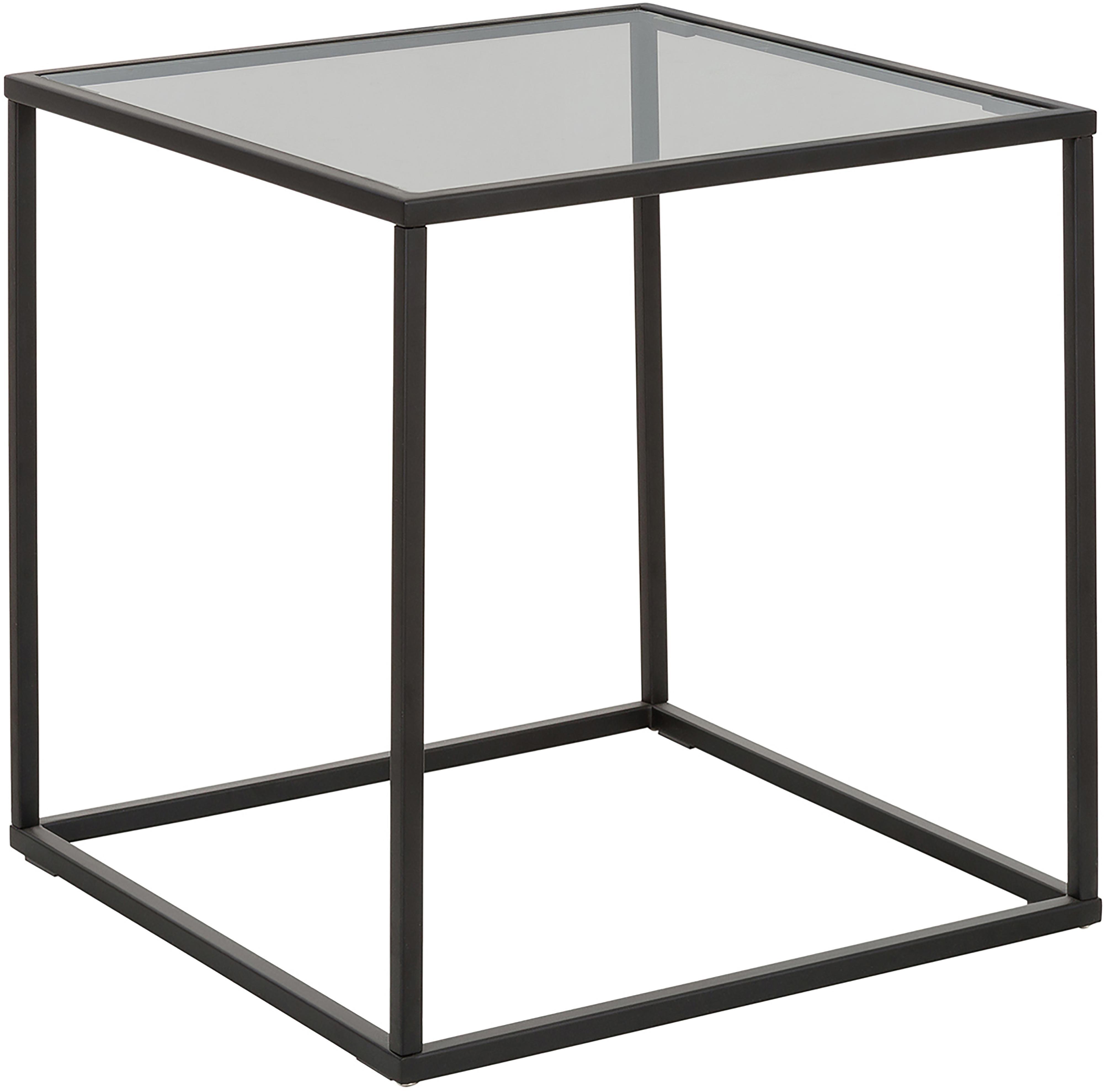 Mesa auxiliar Maya, tablero de cristal, Tablero: vidrio laminado, Estructura: metal con pintura en polv, Vidrio tintado en negro, negro mate, An 45 x Al 50 cm