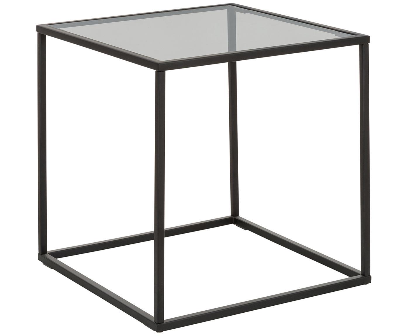 Stolik pomocniczy ze szklanym blatem Maya, Blat: szkło hartowane, Stelaż: metal malowany proszkowo, Blat: szkło, czarny barwiony Stelaż: czarny, matowy, S 45 x W 50 cm