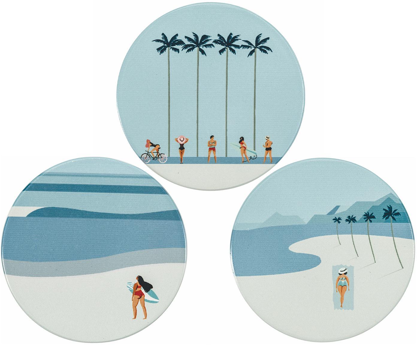 Set sottobicchieri South Beach 6 pz, Retro: sughero, Tonalità blu, Ø 9 cm